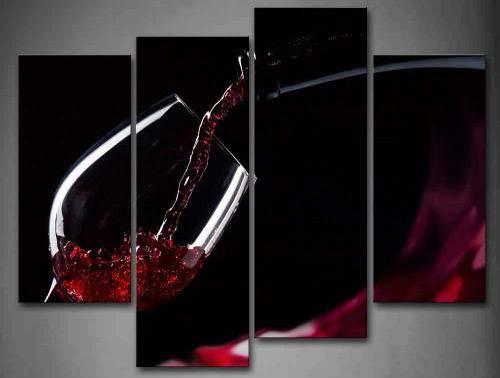 First Wall Art Quadro Per Cucina Elegante Nero Con Bicchiere Di Vino Rosso