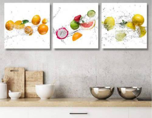 Lc Italia tris quadretti piccoli 25x25 cm. con esplosione di frutta e agrumi