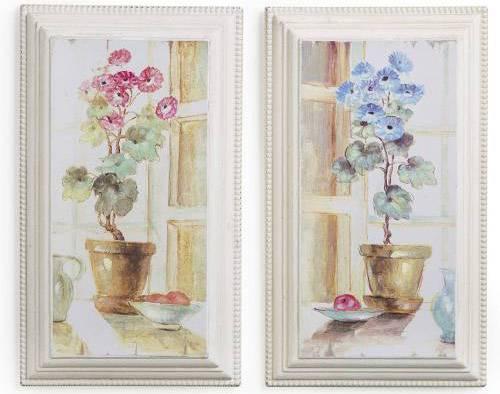Montemaggi Quadri Stampe Classiche Con Cornice Finestra Con Vaso Fiori 2 Pezzi 21x3,5x35,5 Cm