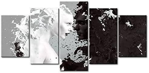 Quadro moderno per Cucina astratto con esplosione di liquido bianco e nero - Stampa xxl da 200x100 cm.