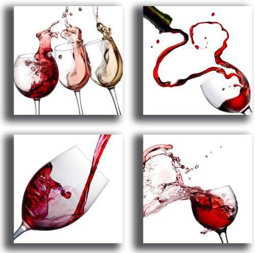 Printerland Quadri Moderni Per Cucina Con Vino Rosso 4 Pezzi 30x30cm