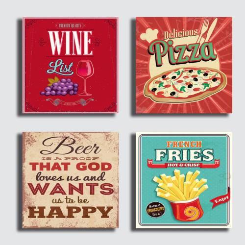 Printerland quadri stampe su tela canvas vintage pizza birra vino | 4 pezzi 30x30cm.