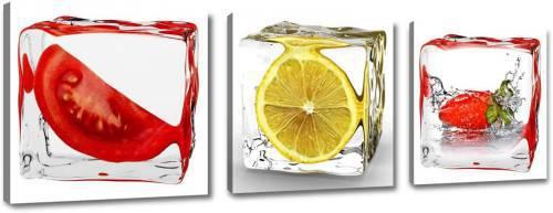 Quadretti su tela per cucina: 3 cubetti di ghiaccio con pomodoro limone e fragola 150x50cm.