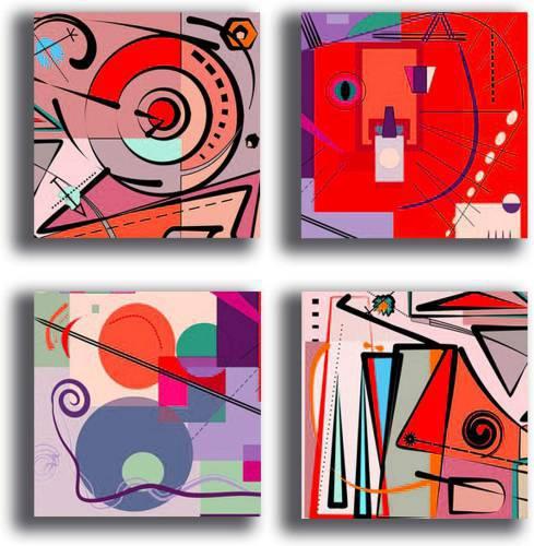 Quadretti moderni per cucina su tela canvas in stile astratto, nelle tonalità e varianti del rosso