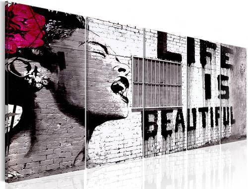 "Quadro per cucina moderna ""Banksy Life is Beautiful"" By Murando dimensioni 225x90cm. con stampa su tela in Tnt Xxl di alta qualità"
