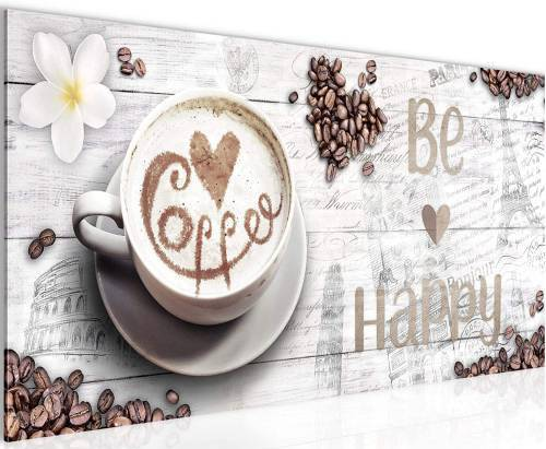 Quadro Cucina Caffe Be Happy 100x40cm