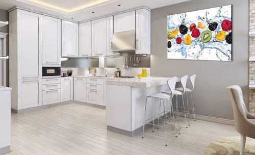 Quadro Stampa Su Tela Per Cucina 120x80cm Con Acqua E Frutta Fresca