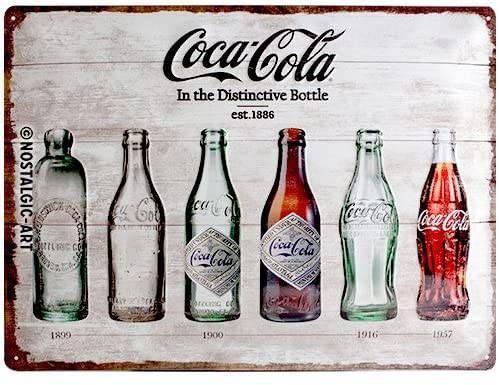 Targa vintage per cucina con bottiglie di Coca Cola