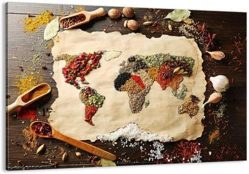 Quadro Moderno per Cucina Arttor con spezie a formare un mappamondo
