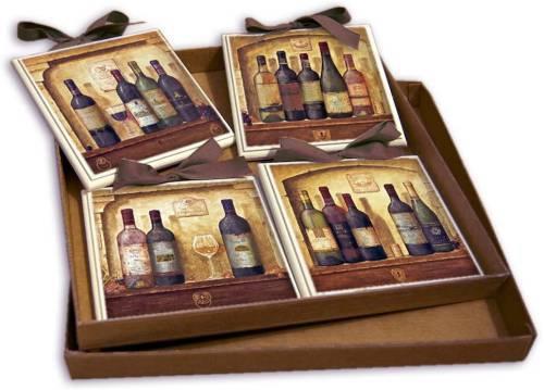 Set Quadretti Country Per Cucina Con Bottiglie Di Vino 15x15 Creazioni Antart