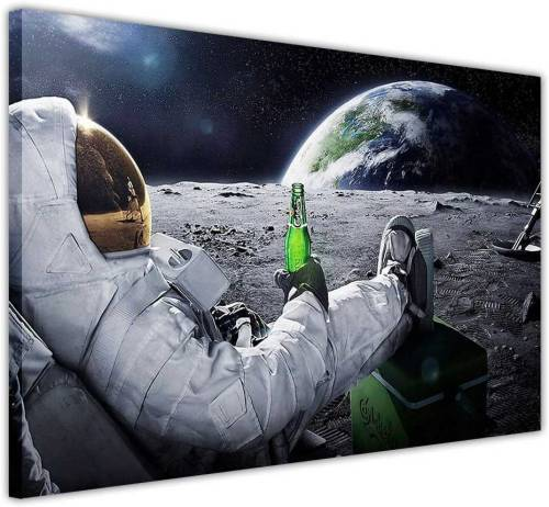 Stampa Su Tela Per Cucina Astronauta Rilassato Con Birra 101x76cm