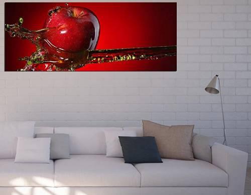 Quadro in vetro lungo orizzontale con mela rossa