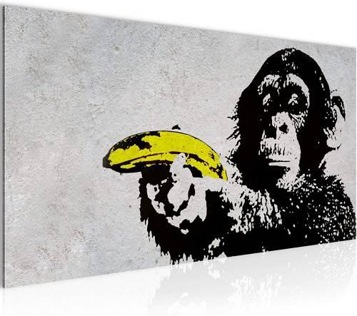 Quadro Scimmia Con Banana Stile Street Art By Banksy