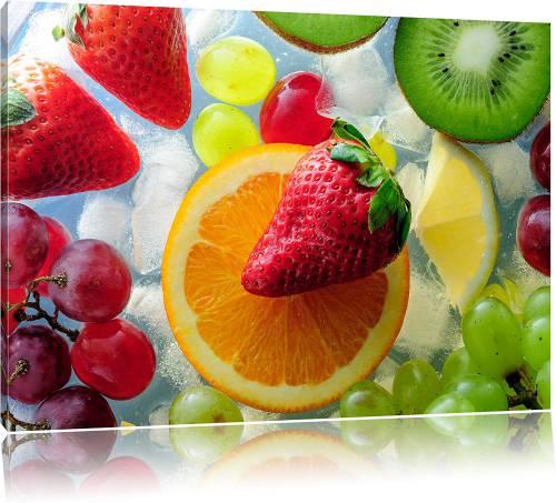 Quadro stampa su tela con frutta e agrumi sopra il ghiaccio