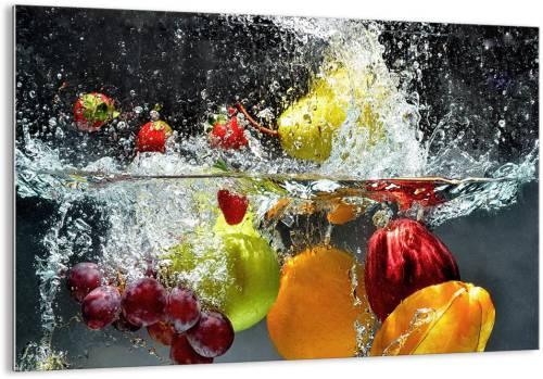 Quadro Arttor su vetro di frutta gettata nell'acqua