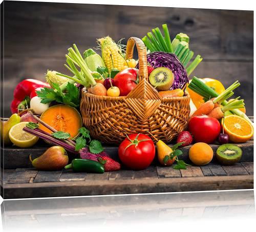 Stampa artistica su tela Pixxprint con frutta fresca e verdura nel cestino