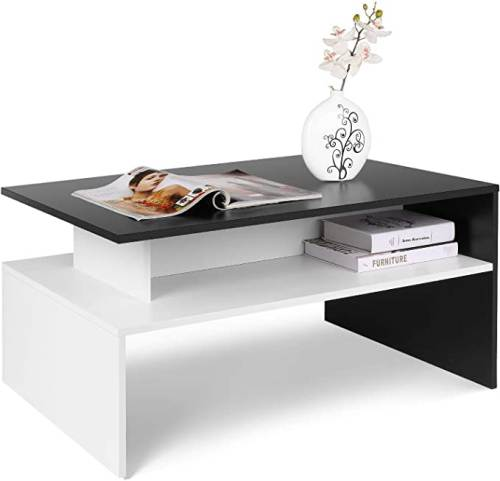 Tavolino Da Caffe Moderno Da Salotto Bianco Nero 1