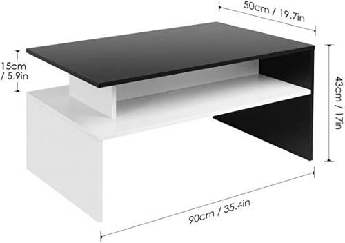 Tavolino Da Caffe Moderno Da Salotto Bianco Nero 2