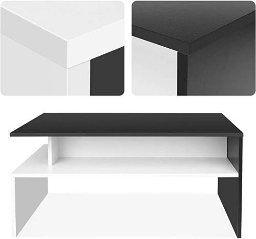Tavolino Da Caffe Moderno Da Salotto Bianco Nero 3