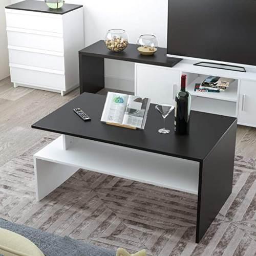 Tavolino Da Caffe Moderno Da Salotto Bianco Nero 5