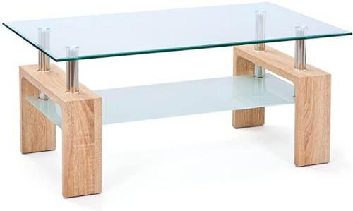 Tavolino Salotto Moderno Bianco Cromo E Vetro Trasparente 1