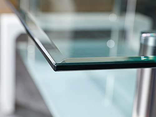 Tavolino Salotto Moderno Bianco Cromo E Vetro Trasparente 2