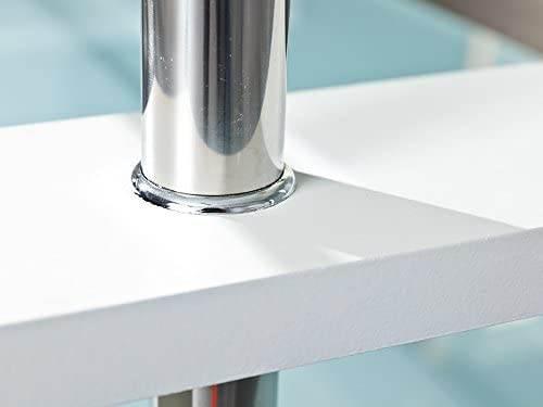 Tavolino Salotto Moderno Bianco Cromo E Vetro Trasparente 3