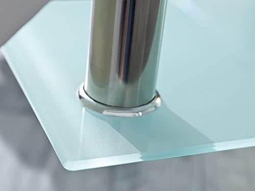 Tavolino Salotto Moderno Bianco Cromo E Vetro Trasparente 4