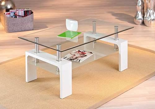 Tavolino Salotto Moderno Bianco Cromo E Vetro Trasparente 5