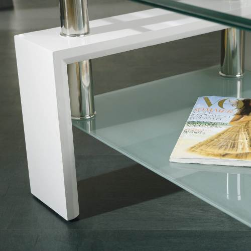 Tavolino Salotto Moderno Bianco Cromo E Vetro Trasparente 6