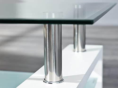 Tavolino Salotto Moderno Bianco Cromo E Vetro Trasparente 7