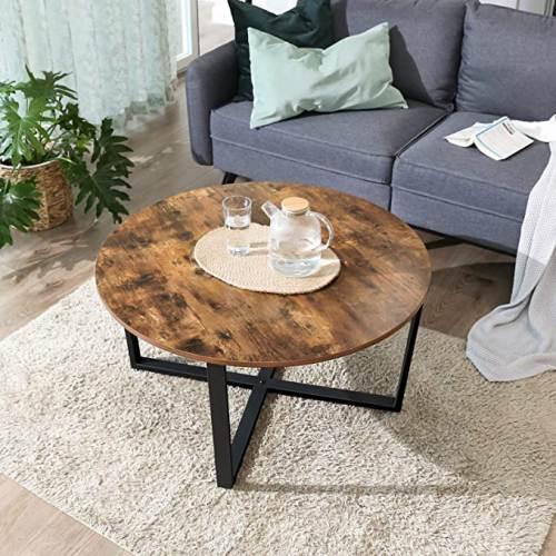 Tavolino Tondo Legno Rustico Vasagle 1