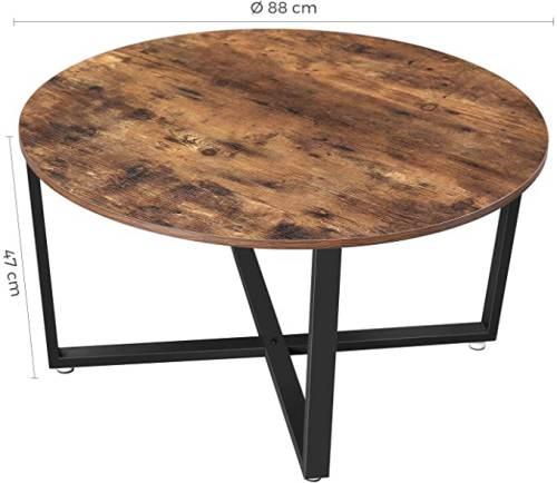 Tavolino Tondo Legno Rustico Vasagle 3