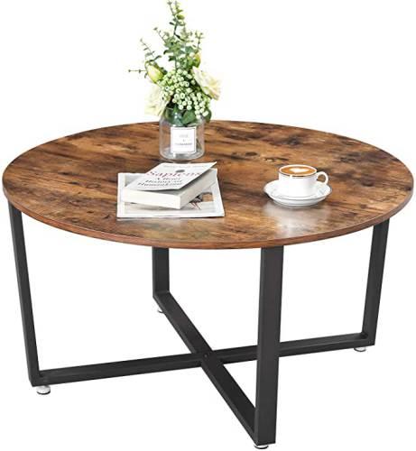 Tavolino Tondo Legno Rustico Vasagle 5