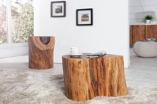 Tavolino Tronco Legno Di Acacia Dunord 1