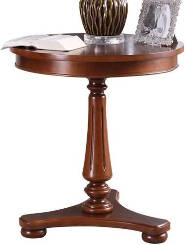 Tavolino Antico Rotondo In Legno Massello Di Betulla 2