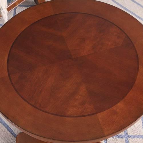 Tavolino Antico Rotondo In Legno Massello Di Betulla 3