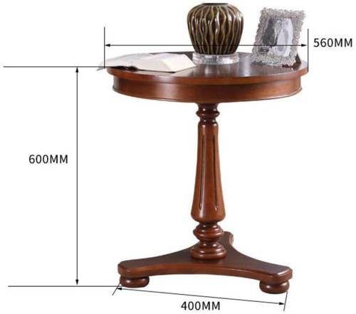 Tavolino Antico Rotondo In Legno Massello Di Betulla 6