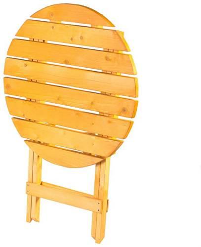 Tavolino Da Giardino Rotondo Pieghevole In Legno 2