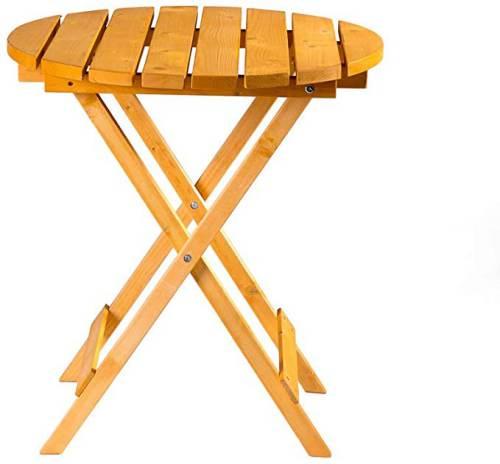 Tavolino Da Giardino Rotondo Pieghevole In Legno 4