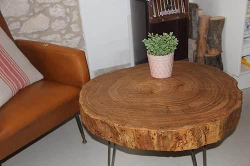 Tavolino Da Caffe Tondo In Legno Massello Di Olmo 1