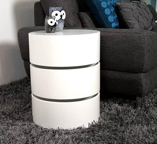 Tavolino Rotondo Bianco Girevole Con Cassetti 2