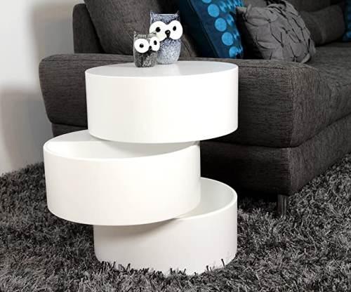 Tavolino Rotondo Bianco Girevole Con Cassetti 3