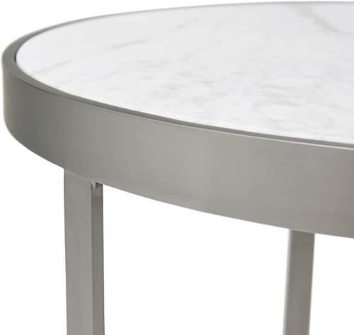 Tavolino Rotondo Marmo E Acciaio Inossidabile 2