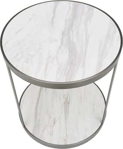 Tavolino Rotondo Marmo E Acciaio Inossidabile 3