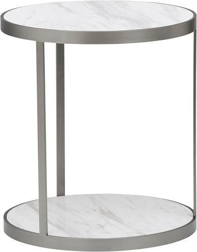 Tavolino Rotondo Marmo E Acciaio Inossidabile