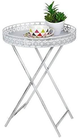 Tavolino Rotondo Shabby Chic Con Vassoio 1