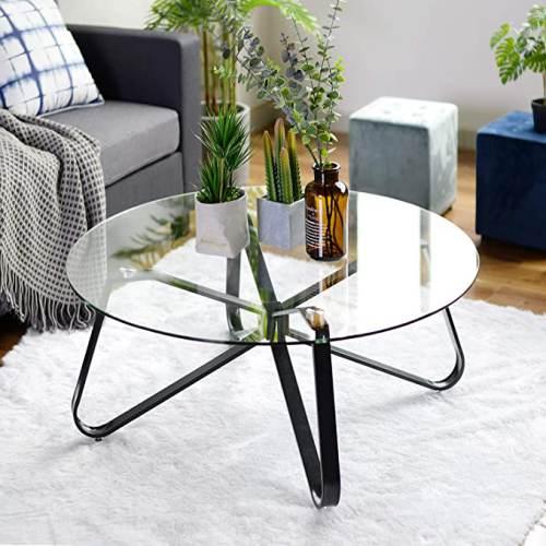 Tavolino Rotondo Vetro Con Base In Ferro 1