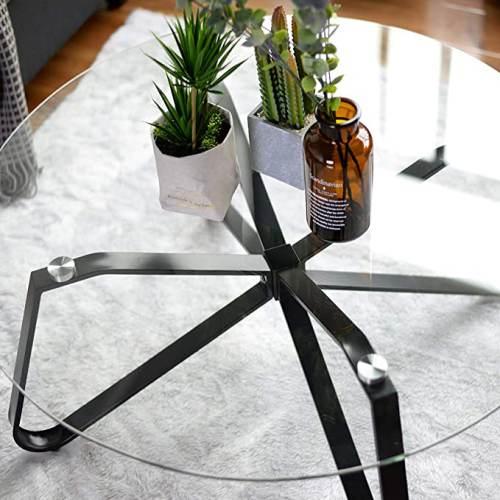 Tavolino Rotondo Vetro Con Base In Ferro 2