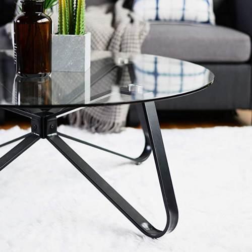 Tavolino Rotondo Vetro Con Base In Ferro 3
